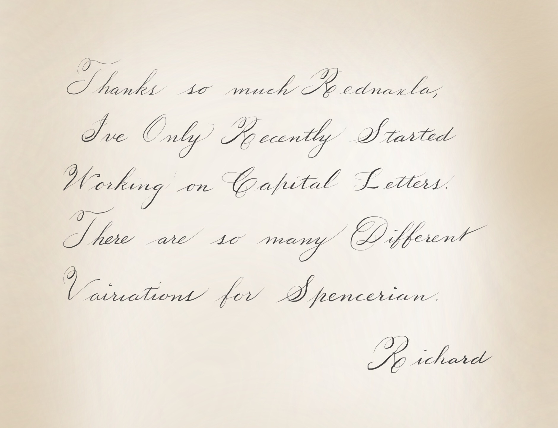 Terrible handwriting into beautiful handwriting page 2 thanks so much for your kind comments rednaxela so one thing ive found about spencerian there are so many variations of capitals spiritdancerdesigns Gallery