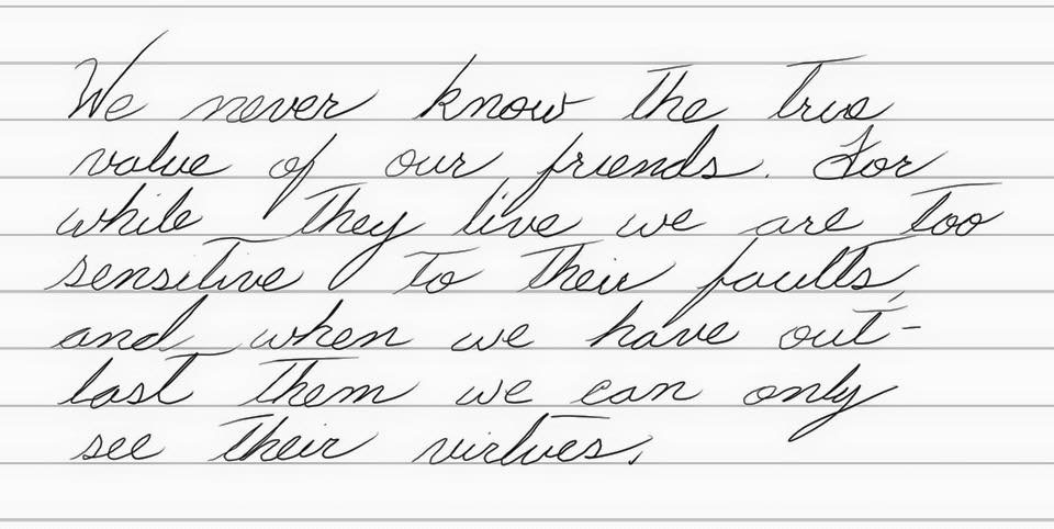 Continued Improvement in Cursive Handwriting - Walt's Thoughts